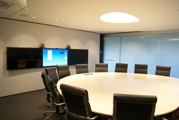 "Board Room with three 55"" commercial panels and cameras"