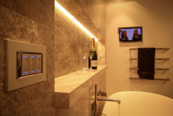 Modern bathroom with Aesthetic Keypad and TV