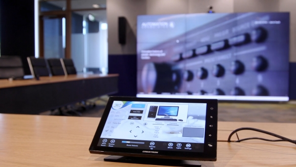 Crestron touch panel which controls the automation system