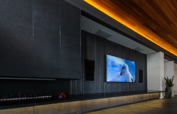 Home theater in living room with ceiling speakers