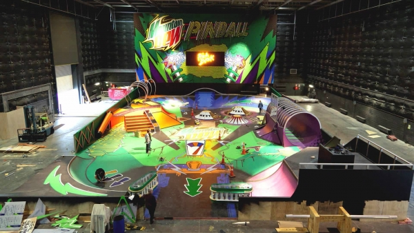 Full front view of Mountain Dew pinball skate park under construction