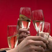 Hands Raising Glasses for Toast