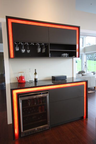 Residential bar area with automated lighting control