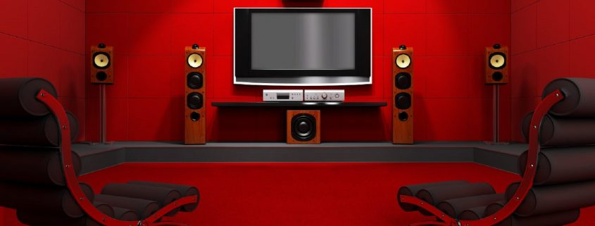 Home Theater In Red With Cozy Seating